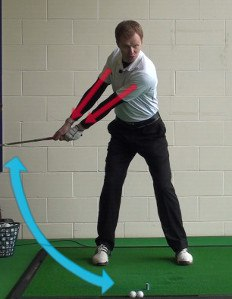 start golf swin with left arm and shoulder
