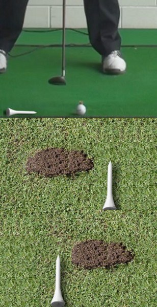 Fat Shot Golf Drill: Mark Ball Position with Tee to See Your Divot