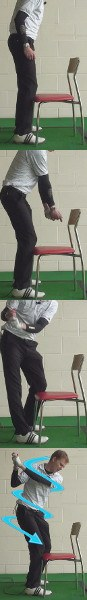Stable Legs Golf Drills: Kneel Against a Chair