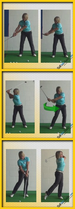 Correct Golf Swing Weight Shift Takeaway and Downswing, Women Golfer Tip A