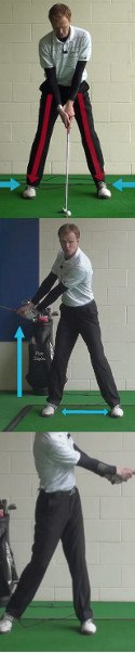 Practice with Wide Stance for Short, Powerful Backswing
