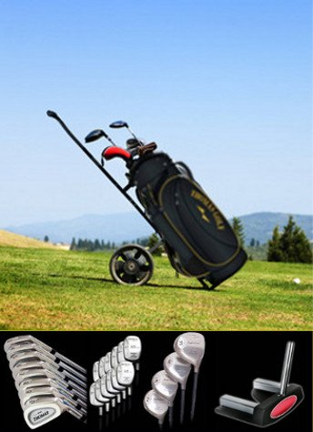 Golf bag with several clubs on a trolley on the fairway of a golf course