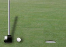 Golf player hotting ball into a hole