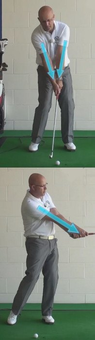 Correct Golf Answer Get connected by keeping the hands in-line with the chest