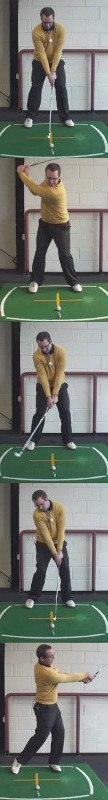 Correct Golf Answer Use an altered full swing technique and make contact with the ball first